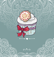 Vintage invitation card with a cupcake vector image vector image