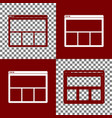 web window sign bordo and white icons and vector image vector image