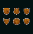 wooden shields in different shape empty vector image vector image