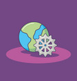 world planet and gear work innovation vector image vector image