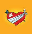 wounded love red heart with cupid arrow vector image vector image