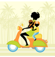 Young mother scootering with two kids vector image