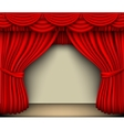 red silk curtain with shadows and screen vector image