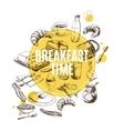 background Hand drawn breakfast vector image