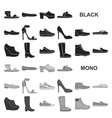 a variety of shoes black icons in set collection vector image vector image