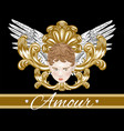 amour hand drawn cupid with wings vector image vector image