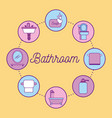 bathroom equipment elements icons in circle vector image