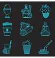 Blue line icons for breakfast menu vector image vector image