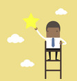 businessman on a ladder grab star in sky vector image vector image