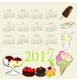 calendar for 2012 with sweets vector image
