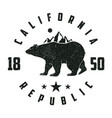 california grunge print with bear and mountains vector image vector image