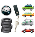 Cars and parts vector image vector image