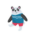 cartoon panda character walking with smiling vector image vector image
