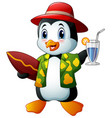 cartoon penguin with cocktail drink and surfboard vector image