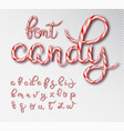 christmas candy cane lettering font set vector image vector image