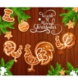 Christmas gingerbread on wooden background vector image vector image