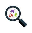 colorful germs and magnifying glass microscopic vector image vector image