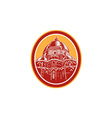 Dome of Florence Cathedral Front Woodcut vector image