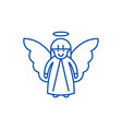 easter angel line icon concept easter angel flat vector image