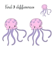 Find differences kids layout for game jellyfish vector image vector image