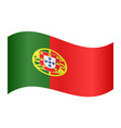 flag of portugal waving on white background vector image