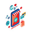 flat 3d isometric design concept shopping and vector image
