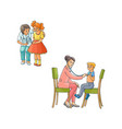 flat female doctor teen kids scene set vector image vector image