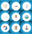 flat icon summer set of wiper aircraft ship hook vector image vector image