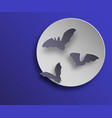 flock of bats in paper art style on night moon vector image