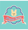 happy easter text in a banner with peeps character vector image