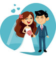 happy wedding couple invitation vector image