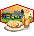 hexagon frame with jar of honey vector image vector image