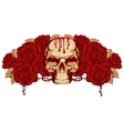 human skull and rose vector image vector image