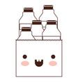 kawaii paper bag with milk bottles in brown vector image