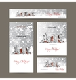 Merry christmas set postcards with cityscape vector image vector image