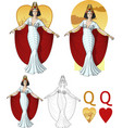 Queen of hearts actress Mafia card set vector image vector image
