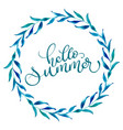 round frame of leaves and text hello summer vector image vector image