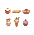 Set of pies and flour products from bakery or vector image vector image