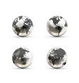 set realistic metallic earth globes icons from vector image