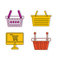 shop basket icon set color outline style vector image vector image