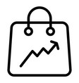 shopping bag with a graph line icon package bag vector image vector image