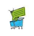 shopping cart with commercial tag hanging vector image vector image