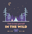 stay wild camping child hand drawn t shirt print vector image vector image