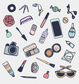 sticker beauty items set hand drawn cartoon fashi vector image vector image