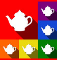 tea maker sign set of icons with flat vector image vector image