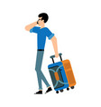 tourist male character with suitcase walking and vector image vector image