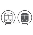 train line and glyph icon railway and travel vector image vector image