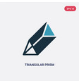 two color triangular prism icon from shapes vector image vector image