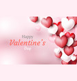 valentines day background red and white 3d hearts vector image