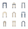 vaulting icons set flat style vector image vector image